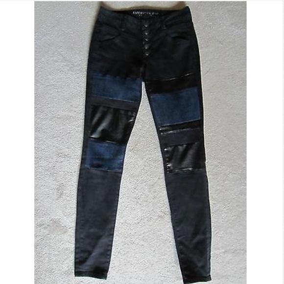 American Eagle Black Blue Denim Jeggings Jeans 2